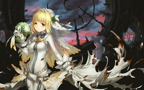 FateExtra, Saber Extra, gloves, anime girls, Saber Bride, long hair