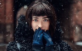 gloves, cold, girl, blue eyes, portrait, face