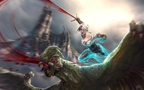 The Witcher, Ciri, Cirilla Fiona Elen Riannon, blood, fantasy girl, The Witcher 3 Wild Hunt