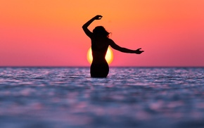 beach, sunset, sky, water, girl
