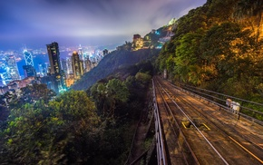 forest, Hong Kong, railway, sky, city