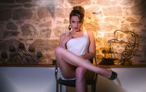 model, chair, girl