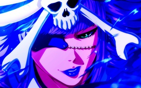 manga, skull and bones, eye patch, anime, Bleach