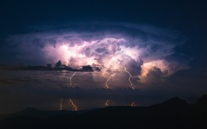 clouds, lightning, landscape, storm, mountains, nature