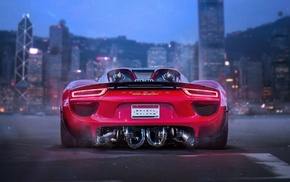 car, render, Porsche 918 Spyder, twin, turbo, city