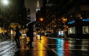 rain, men, city, New York City, umbrella, girl