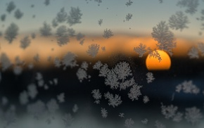 sunset, Sun, winter, nature, clouds, frost