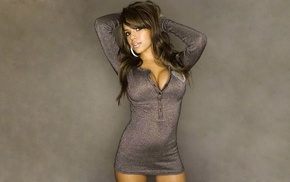 model, gray background, big boobs, Rosalee Ochoa, brunette