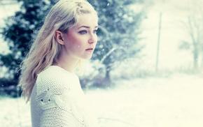 lips, long hair, girl, eyes, cold, winter