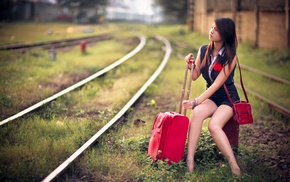 sitting, looking away, railway, brunette, girl, Asian