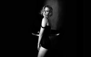 Scarlett Johansson, looking at viewer, eyes, monochrome, girl, blonde
