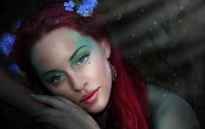 long hair, eyes, girl, redhead, lips