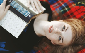 tartan, introvert, books, girl, looking at viewer, lying on back