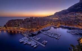 Monaco, water, sunset, city, city lights, harbor