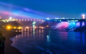 landscape, night, Niagara Falls, waterfall, river, bridge