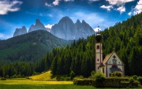 church, sky, forest