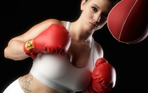 boxing, fitness model, black background, girl, tattoo, boxing gloves