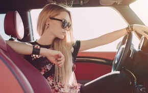 piercing, sunglasses, model, driving, blonde, girl with glasses