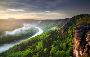 mist, river, Czech Republic, clouds, sunset, spring