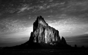 peak, landscape, rock, monochrome, nature, hills