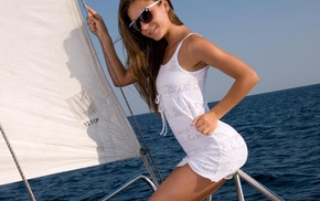 girl, boat, smiling, girl outdoors, sunglasses, girl with glasses