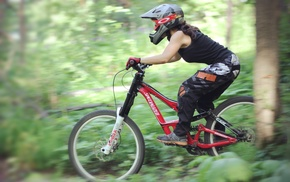 vehicle, Downhill mountain biking, sport, girl with bikes, forest, sports