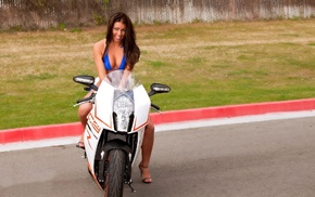Alisha Lucik, motorcycle, KTM RC8R, bikini, vehicle, cleavage