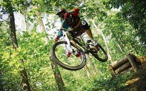bicycle, mountain bikes, vehicle, jumping, sports, Downhill mountain biking