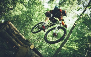 bicycle, mountain bikes, jumping, helmet, sports, vehicle