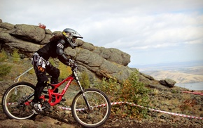 mountain bikes, helmet, sports, Downhill mountain biking, vehicle, sport