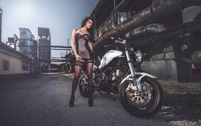 Ducati, heels, girl outdoors, pantyhose, lingerie, brunette