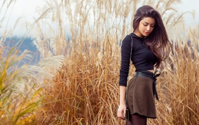 girl outdoors, skirt, girl, shirt, outdoors, standing