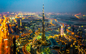 tilt shift, cityscape, lights, motion blur, night, birds eye view