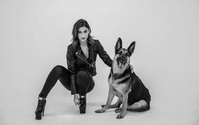 high heels, girl, Lexy Panterra, dog, monochrome