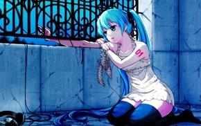 Vocaloid, anime, aqua hair, anime girls, long hair, green eyes