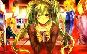 Hatsune Miku, Vocaloid, Kagamine Len, headphones, anime, Kagamine Rin