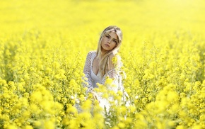 blonde, girl, yellow flowers, nature, plants, field