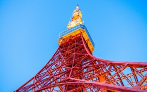 Tokyo, Tokyo Tower, Japan, worms eye view, architecture, sky