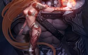 anime girls, long hair, skull, anime, armor, fantasy art