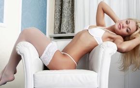 white bra, lingerie, bra, blonde, cleavage, girl