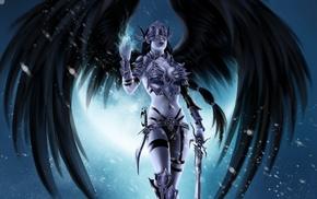 wings, demon, weapon, anime, fantasy art, angel