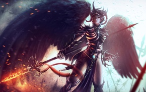 angel, wings, fantasy art, demon, weapon, sword