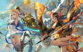 anime girls, mech, weapon, dragon, original characters, sword