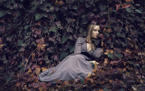 girl outdoors, model, leaves, girl