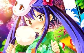 kimono, Marvell Wendy, Fairy Tail, anime, fireworks, anime girls