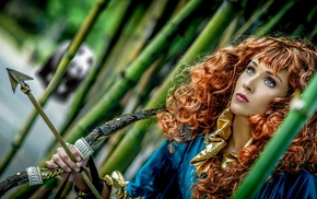 fantasy art, archer, archery, looking away, redhead, curly hair