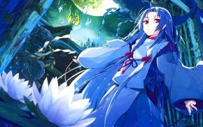 miko, shrine, original characters, lotus flowers, anime girls, anime