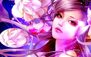 flowers, anime girls, anime