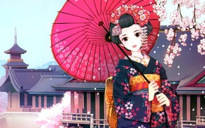 Japanese clothes, umbrella, anime girls, anime, Asian architecture, geisha