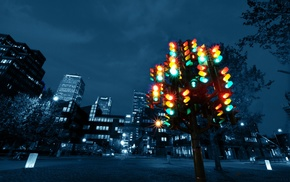 London, colorful, night, UK, traffic lights, city
